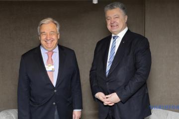 Poroszenko i Guterres rozmawiali o perspektywach rozmieszczenia misji ONZ w Donbasie