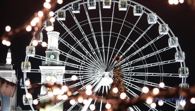 Drone films Christmas Town on Kontraktova Square in Kyiv