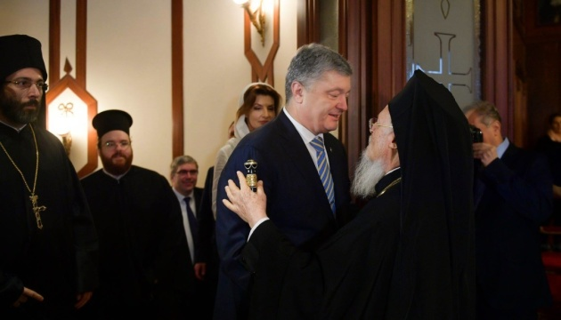 Poroshenko thanks Patriarch Bartholomew for tomos and invites him to visit Ukraine