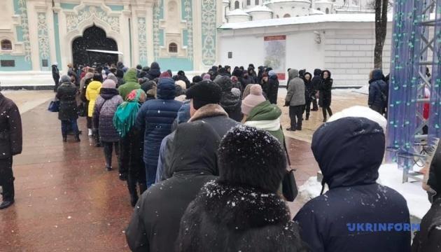 Рождественское богослужение: возле Софии Киевской образовалась очередь