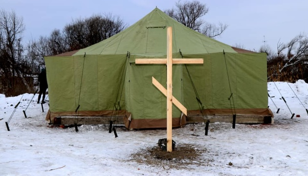 野営テントの教会? ハルキウ州住民が作った自分達の教会