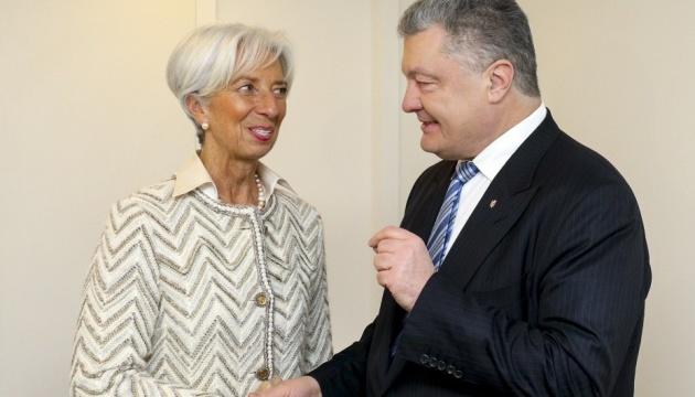 Poroshenko y Lagarde tratan las perspectivas para el crecimiento económico de Ucrania en 2019