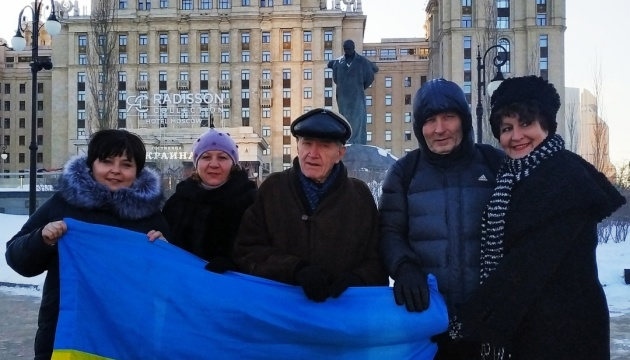 У Москві День Соборності відсвяткували просто неба біля пам'ятника Шевченку
