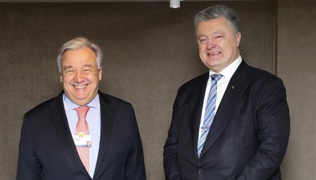 Poroshenko, Guterres discuss prospects for deployment of UN mission in Donbas