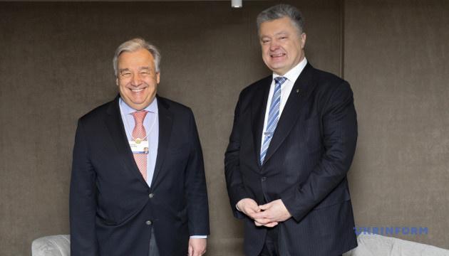 Poroshenko y Guterres tratan la perspectiva de desplegar una misión de la ONU en el Donbás (Fotos)