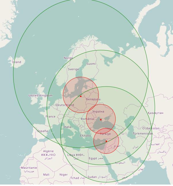 Зона ураження балістичними ракетами (700 км, червоний) та крилатими ракетами (2500 км, зелений) з комплексів «Іскандер» розгорнутих в Калінінградській області, окупованому Криму та на авіабазі «Хмеймім»