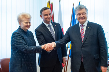 Drei Staatschefs treffen sich mit Soldaten der Litauisch-Polnisch-Ukrainischen Brigade – Fotos