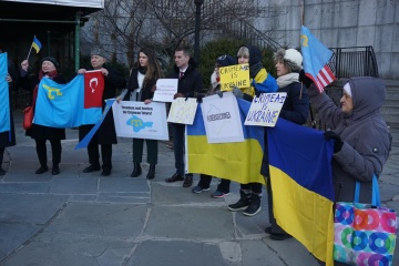 Rally against Russia's occupation of Crimea held outside UN headquarters