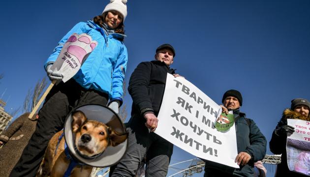 На антихутряний протест у Запоріжжі прийшли волонтери з тваринами