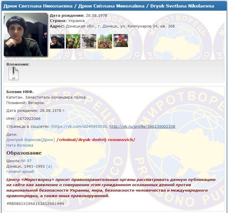 サイト「ミロトヴォレツ」におけるスヴィトラーナ・ドリュークに関する情報のページ