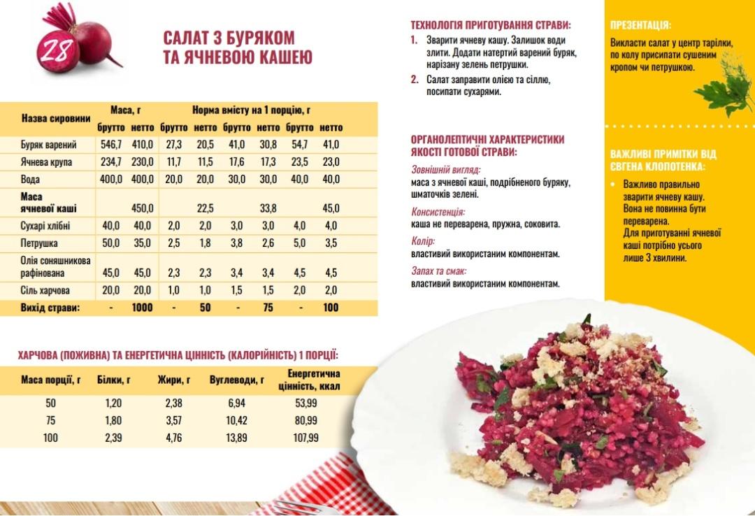 Фото зі збірника рецептів страв для харчування дітей шкільного віку у навчальних та оздоровчих закладах