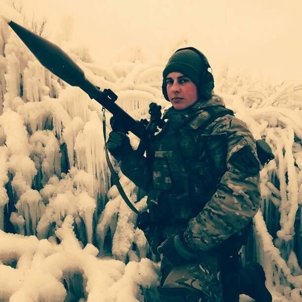Денис Новіков, боєць батальйону «Донбас». Лютий 2015. Широкіно