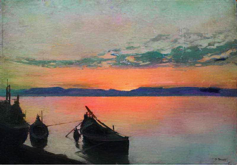 Захід сонця. Човни на березі, 1910-ті рр.