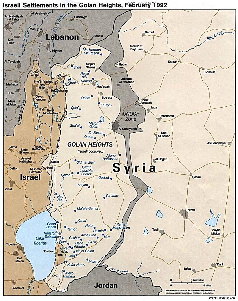 Голанськаі висоти та зона розмежування між Ізраїлем та Сирією