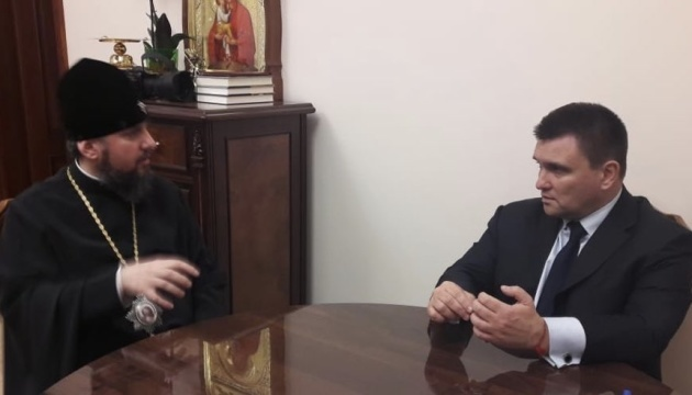 Klimkin, Epiphanius discuss protection of rights of believers in occupied territories