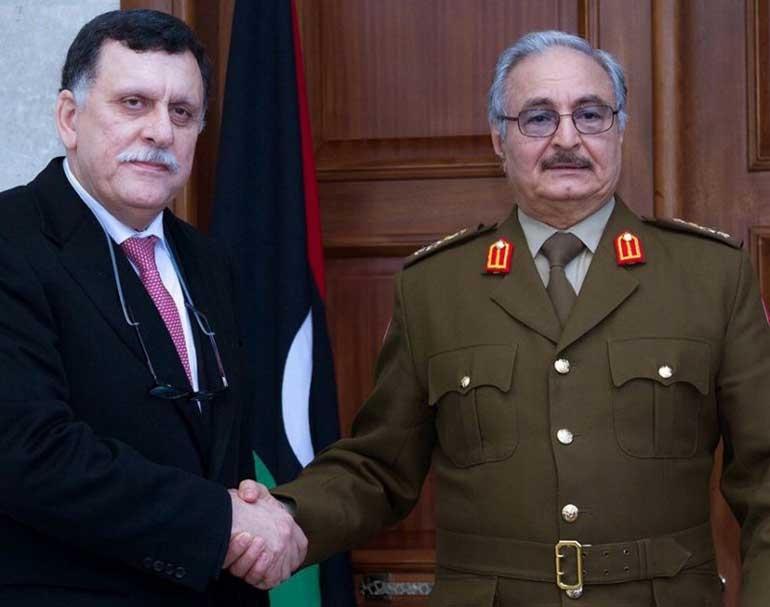 Керівник уряду Лівії Фаїз Сарадж та Халіфа Хафтар