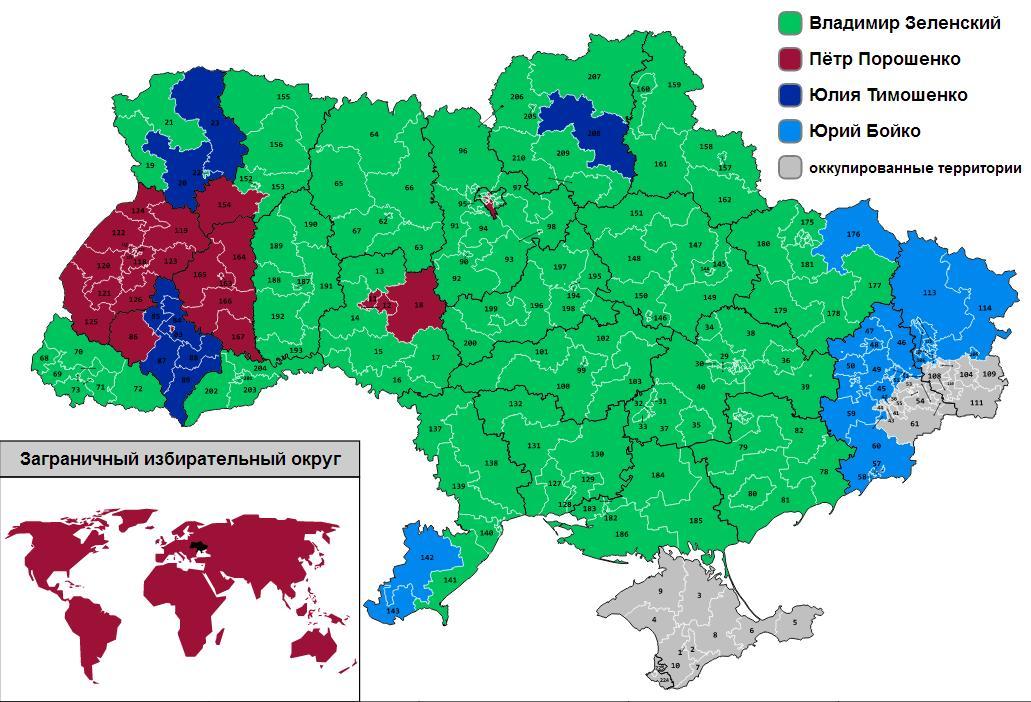 Карта лидеров первого тура по округам