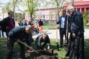 На бульваре Тараса Шевченко в Киеве высадили сотни деревьев и кустов
