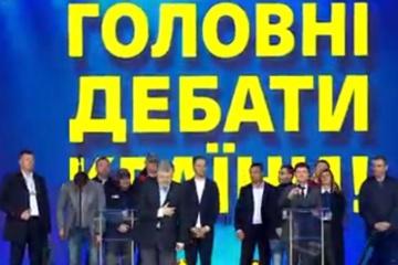 Debatte: Poroschenko kommt auf die Bühne zu Selenskyj