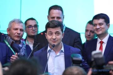 Zełenski podziękował Ukraińcom za ich poparcie w wyborach ZDJĘCIE