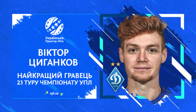 Віктор Циганков став кращим футболістом 23 туру чемпіонату України