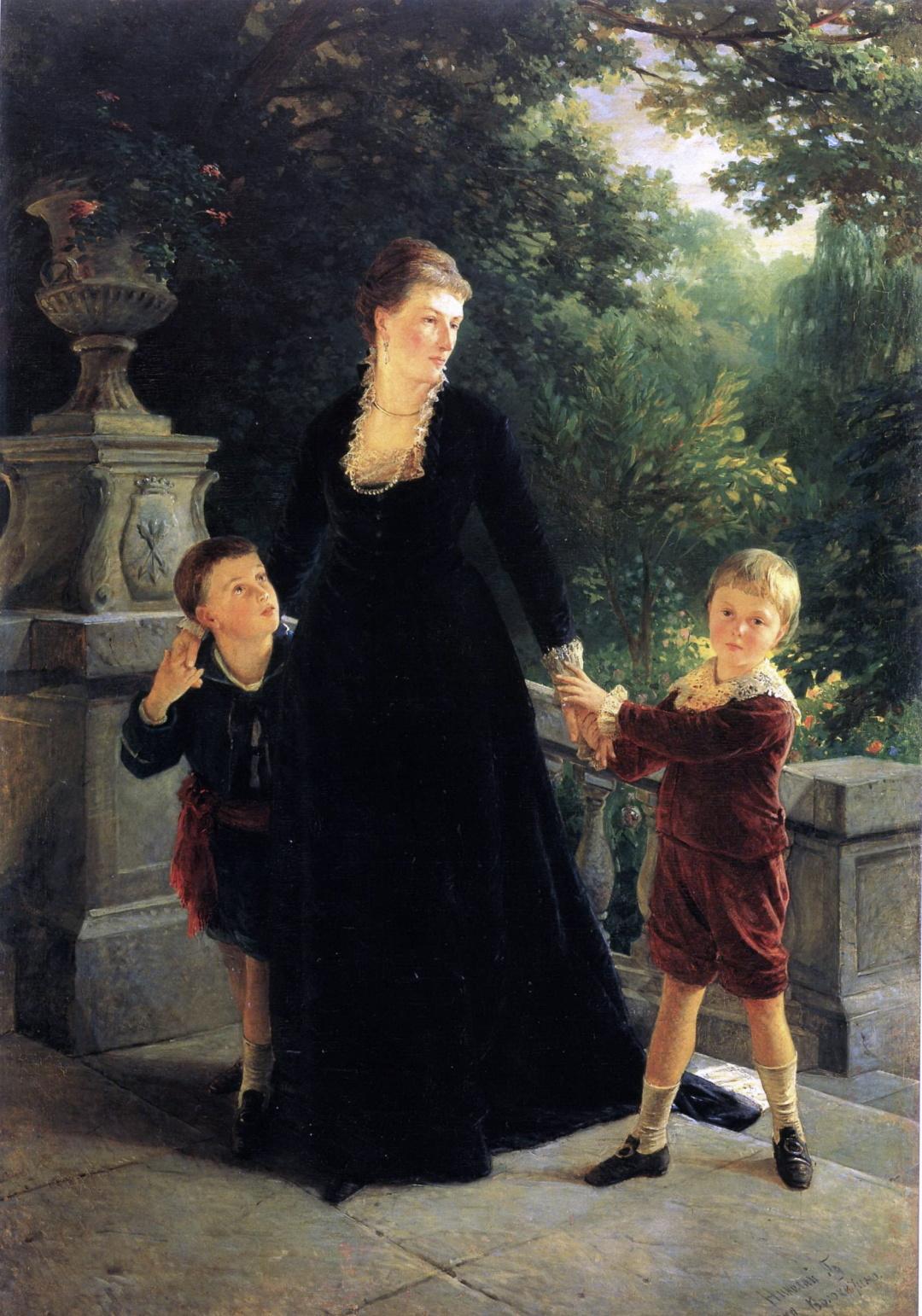 4-мати Марія Андріївна Скоропадська із синами - Павлом та Михайлом, хужлжник Микола ше, 1879 р.