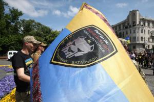 ハルキウ市にて、亡くなったドンバス襲撃大隊の兵の告別式開催
