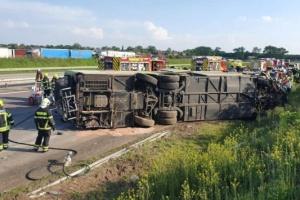 Водитель автобуса, перевернувшегося под Лейпцигом, мог уснуть за рулем - полиция