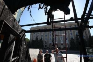 À Kharkiv, la tente des bénévoles dévastée par un incendie