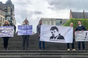 Una acción en apoyo a Súshchenko tiene lugar en Bruselas