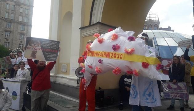 """У Києві під час Маршу за науку """"запустили"""" у космос вареник"""