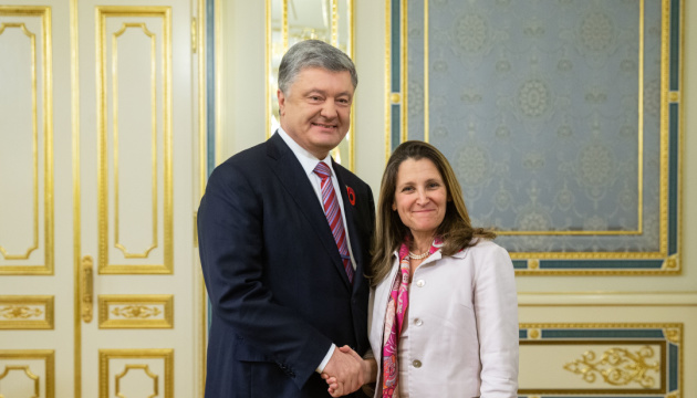Poroshenko, Freeland discuss release of Ukrainian prisoners, passportization in Donbas