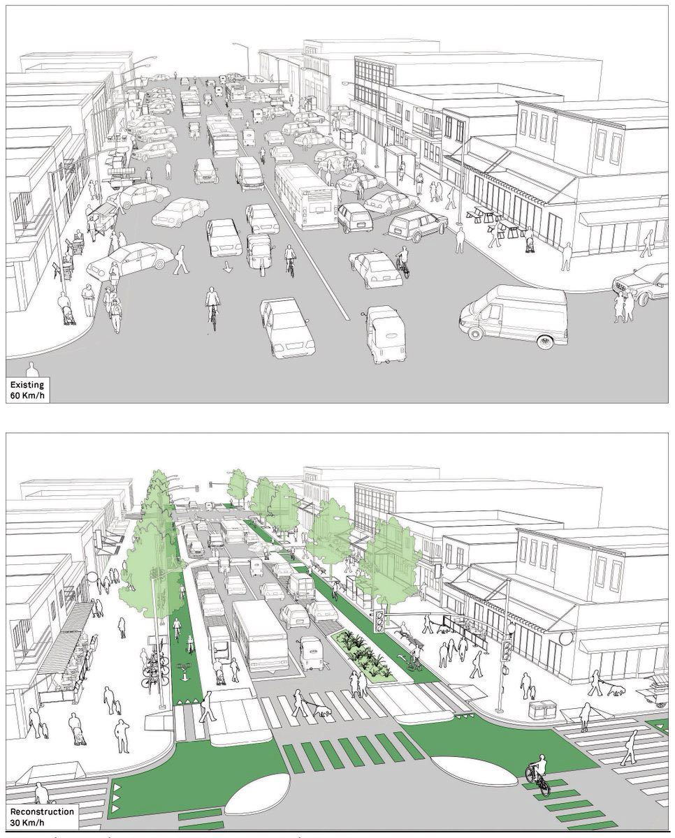 Приклад реструктуризації вуличного простору за стандартами NACTO