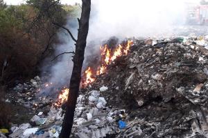 На Полтавщині гасять пожежу на сміттєзвалищі