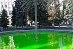 Вандалы покрасили в зеленый цвет фонтаны на Майдане