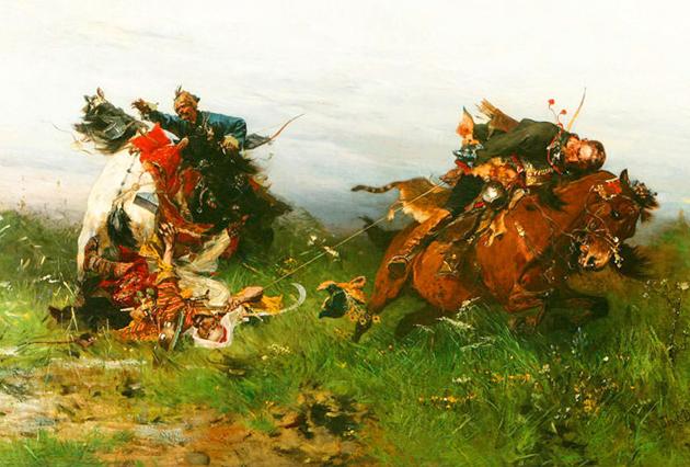 Упіймали на аркан татарина, польський художник Йозеф Брандт (Józef Brandt)