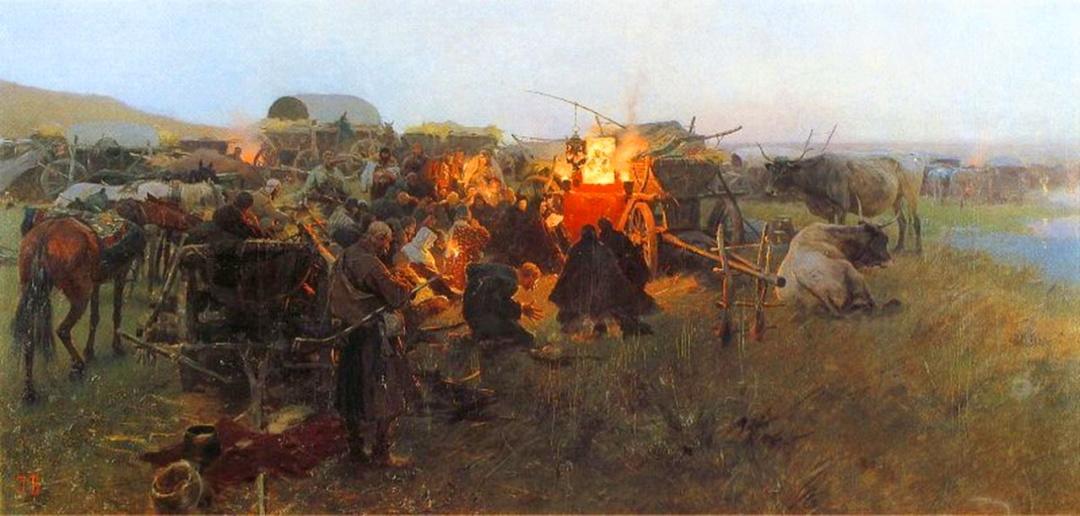 Молитва в степ, польський художник Йозеф Брандт (Józef Brandt) 2