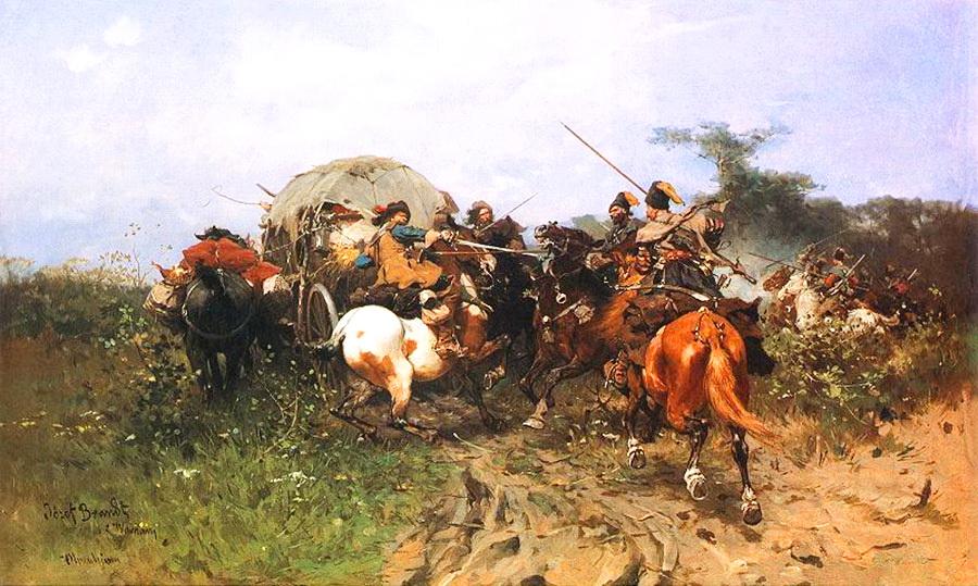 Сутичка запорожців зі шведами, польський художник Йозеф Брандт (Józef Brandt) 1