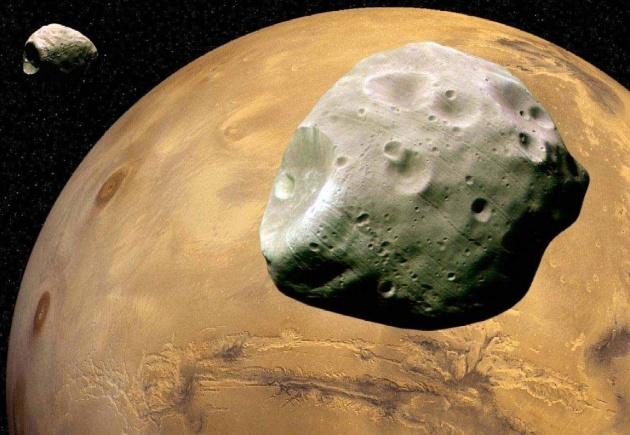 Марс з Фобосом і Деймосом