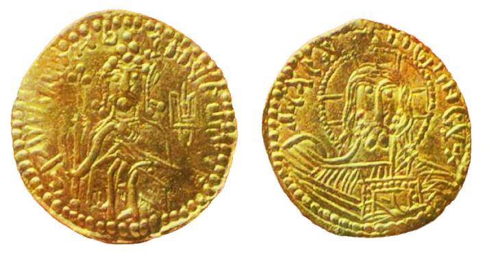 Золота монета князя Володимира із зображенням тризуба