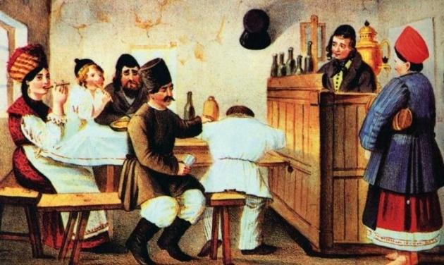 У корчмі, художник Владимир Любаров, літографія 1842 р.