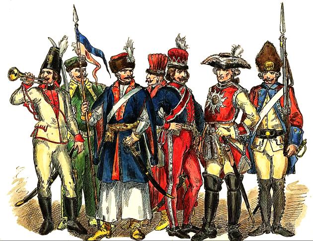 Так виглядали польські вояки у 1697-1795 рр., перший праворуч - жовнір 1730-х рр.