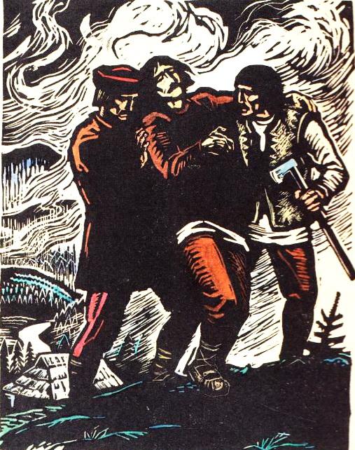 Поранений Довбуш, гравюра Георгія Якутовича