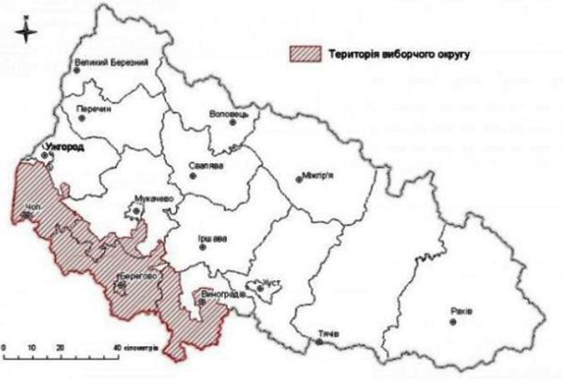 Межі ймовірного Притисянського виборчого округу на Закарпатті