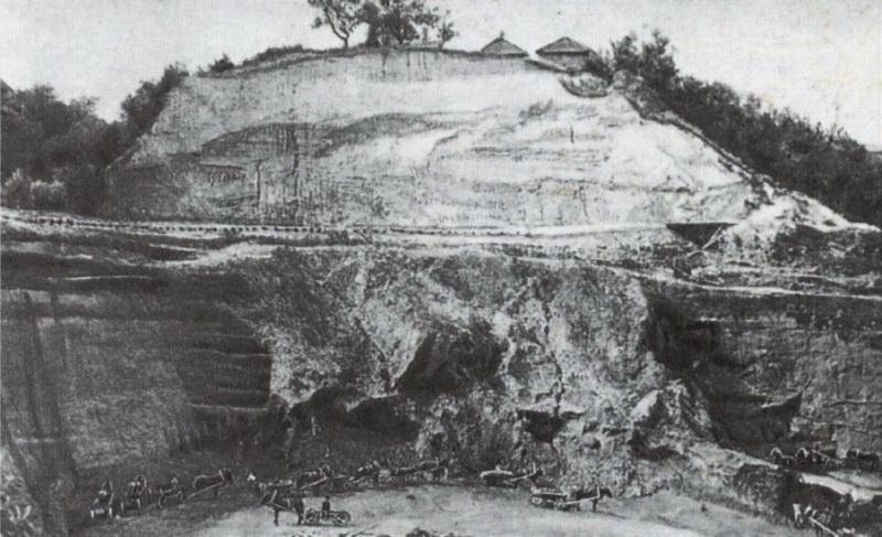 Розкопи на вулиці Кирилівській, 1893 р., фото В. В. Хвойки