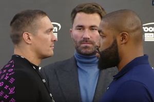Usyk, Witherspoon meet face to face