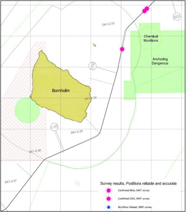 Зони захоронення хімічної зброї, мінних загороджень, а також місця небезпечної якірної стоянки (зелений колір)