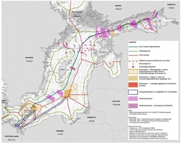 Зони ризику знаходження хімічних боєприпасів в Балтійському морі