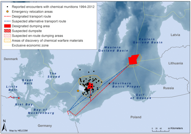 Зони встановленого затоплення арсеналів хімічної зброї, транспортні шляхи, райони, що можуть містити хімічні боєприпаси