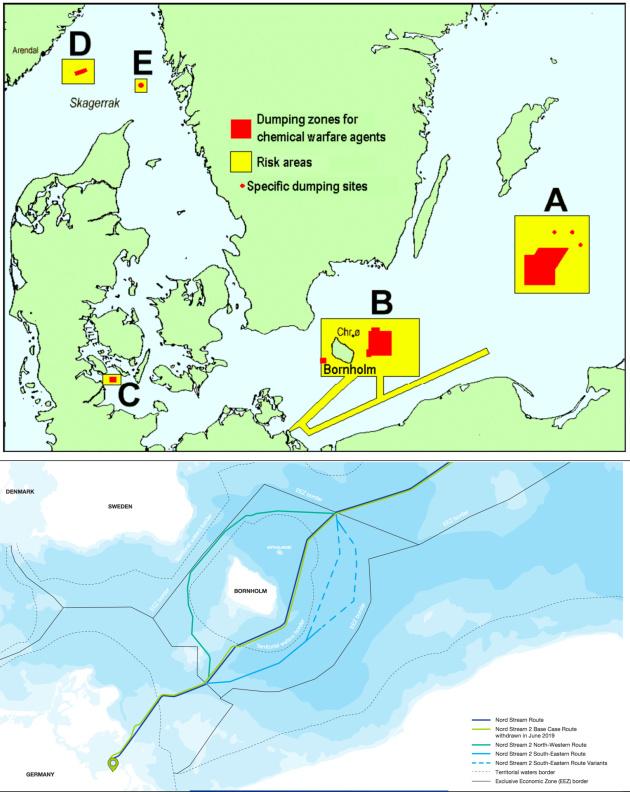 Порівняльна схема розташування захоронень хімічних боєприпасів та маршруту Nord Stream-2